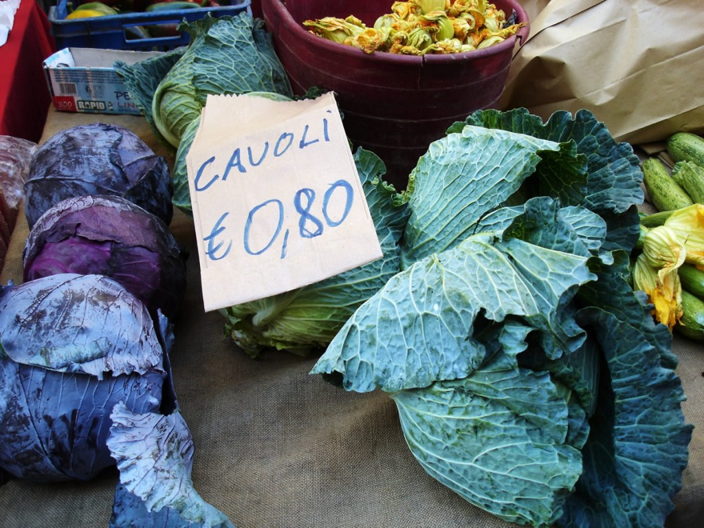 local food market in turin - bunches of cabbage