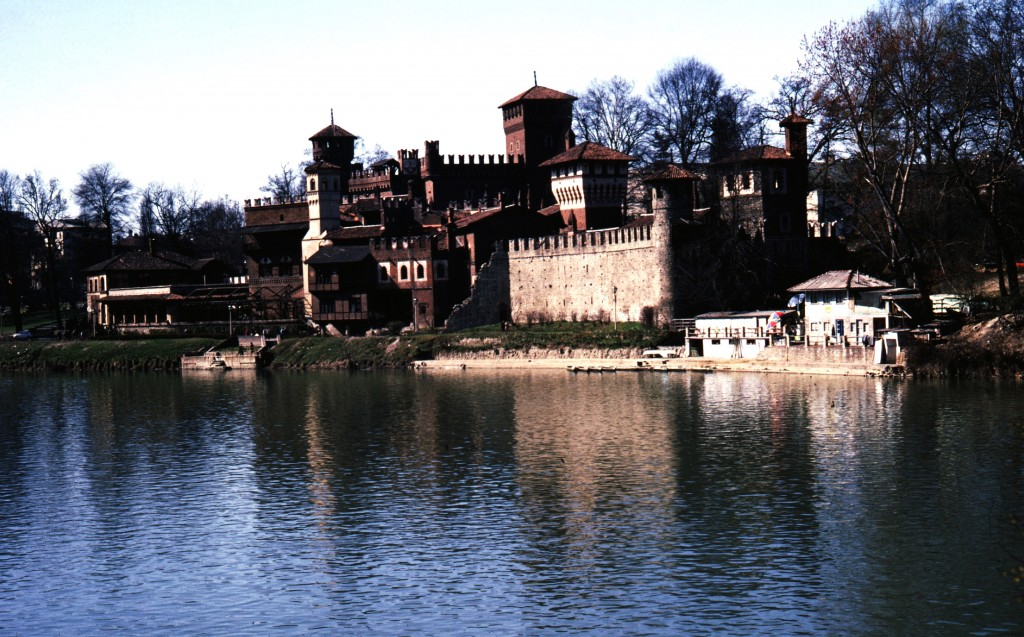 Turin - the Borgo Medievale exterior view from river