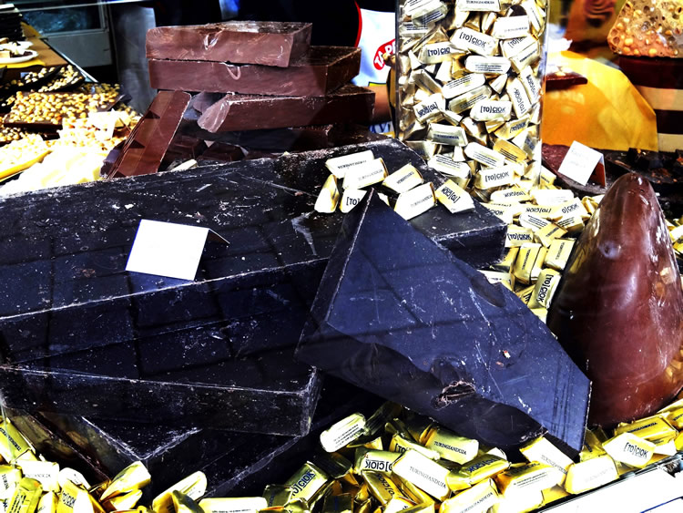 Large blocks of chocolate at Turin's Chocolate Festival
