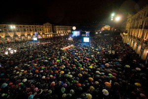 Spectactors under umbrellas descend on Turin for CioccolaTO
