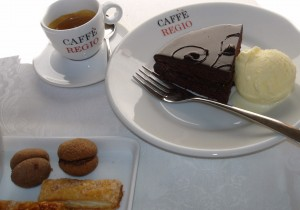 Caffe Regio in Turin - dark chocolate cake with espresso