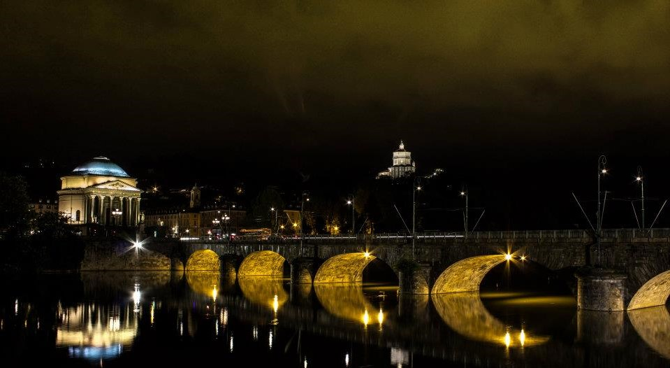 things to do in turin - Gran Madre church with bridge in front by night