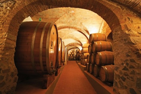 Piedmont red wines - wine cellar with large wooden wine barrels