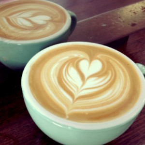 coffee cups with cappuccino