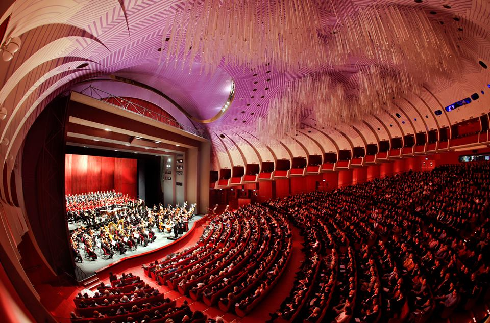 Turin's Teatro Regio, the retro interior with red rows of seats