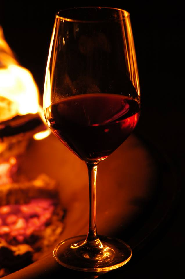 Piedmont wine - wine glass in candlelight