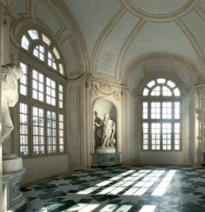Reggia di Venaria (La Venaria Reale) - beautiful hall with marble floors and statues