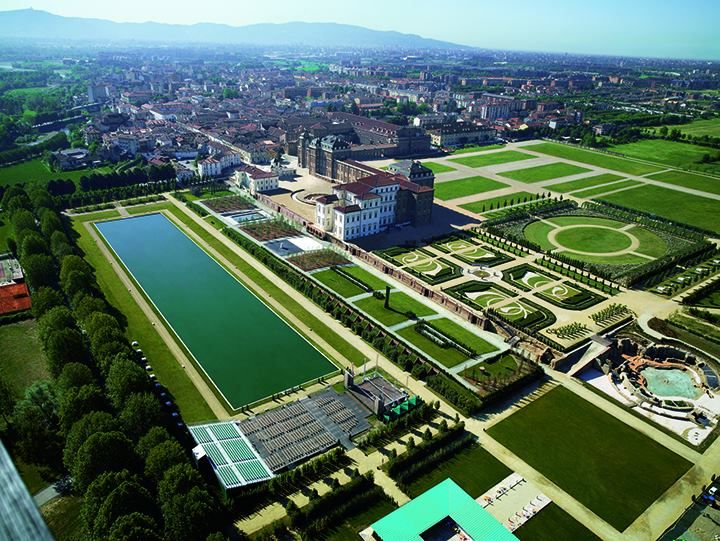 Reggia di Venaria, also called La Venaria Reale, a Savoy Royal palace in Piedmont, aerial view of the palace and the grounds
