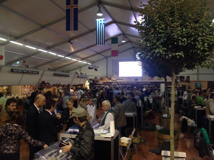 inside the auction tent at the alba truffle festival