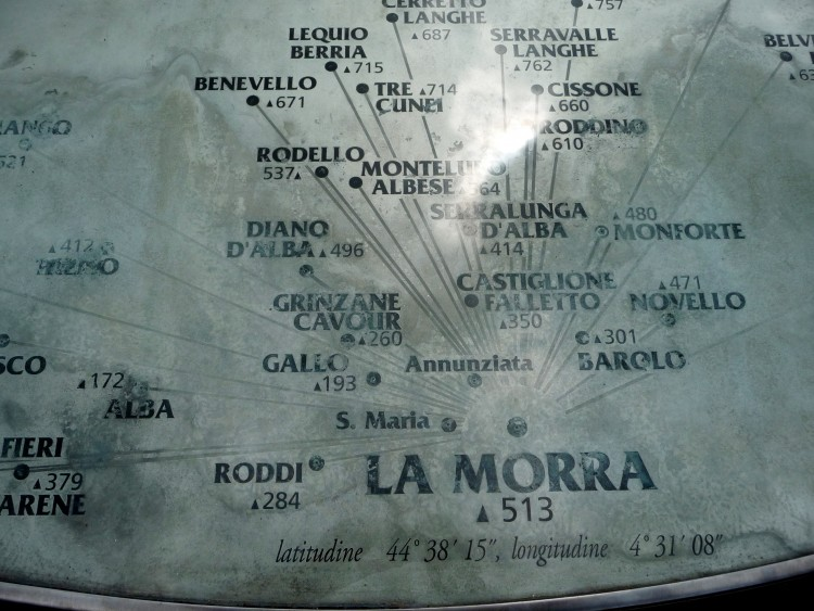 La Morra Map showing nearby villages
