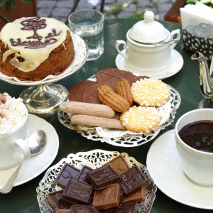 Hot Chocolate, pastries, cookies and & cake on a table