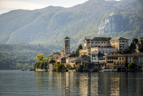 Lake Orta - The island of San Giulio with mountains in the background