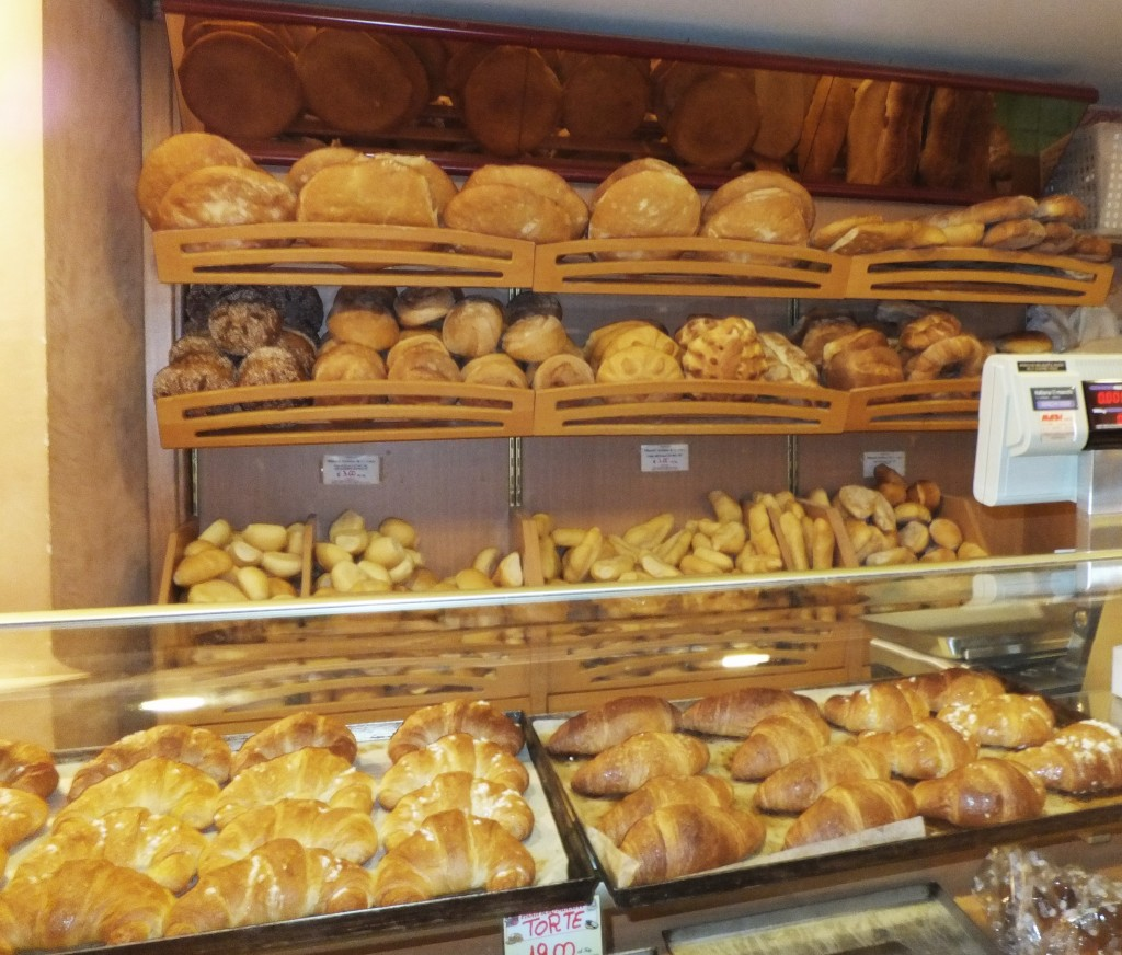 bread in italy - many Italian breads in bakery on shelf