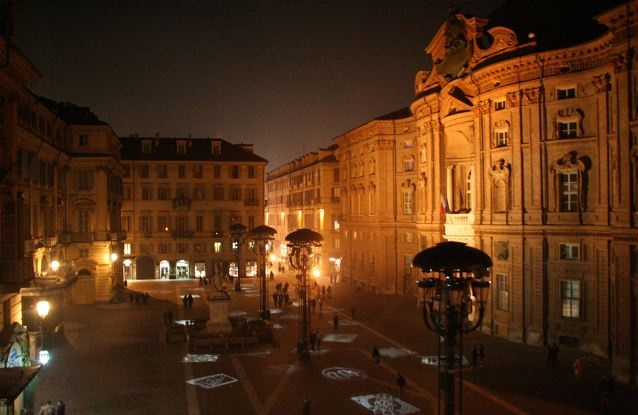 Piazza Carignano with Palazzo Carignano on rightside