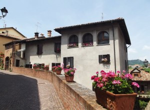 Barolo village street with itailian villa