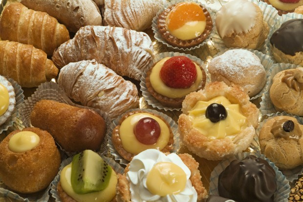 various mini pastries found in Turin and Piedmont, Italy