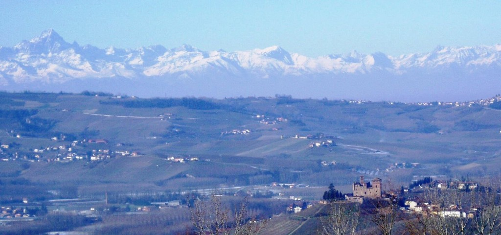 view across Grinzane Cavour to Monviso