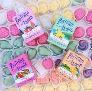 Pastiglie Leone variety of candy flavors make great souvenirs from Piedmont and Turin