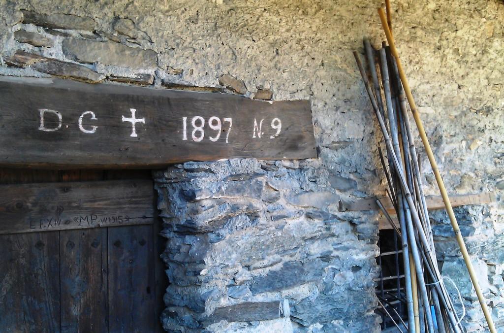 Elva in Piedmont, Italy. doorway of old house