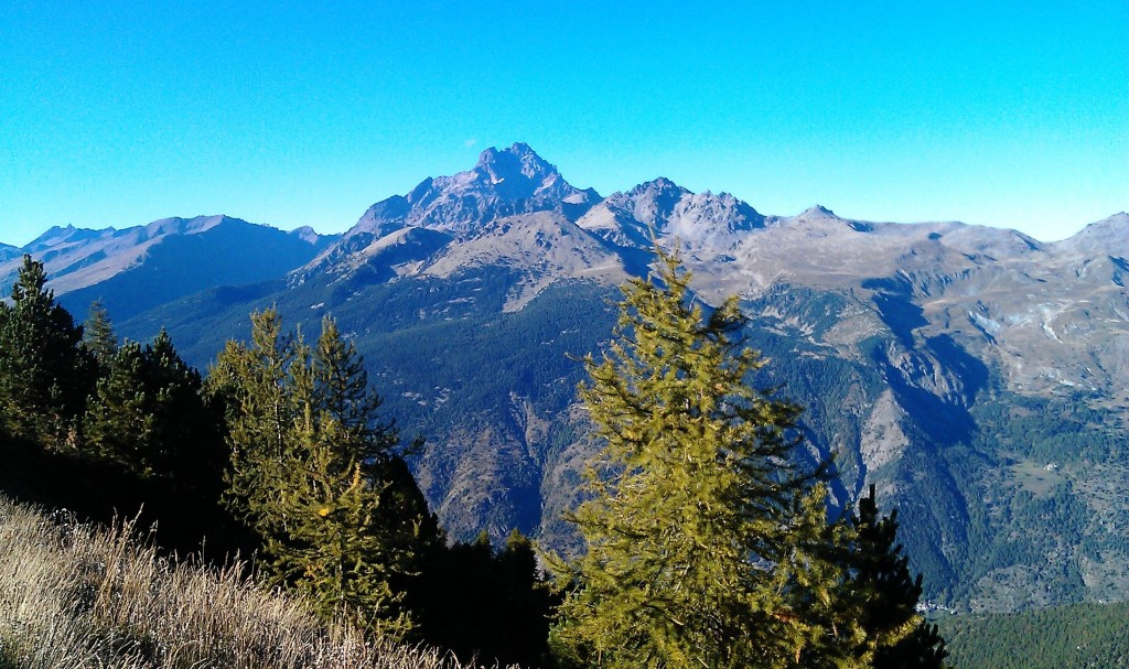 View of mountains and trees in Valle Maira