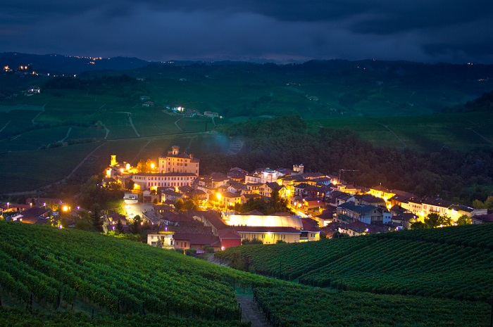 Barolo village in the Langhe with vineyards and hills surrounding it - photo by Mark Hofmeyr
