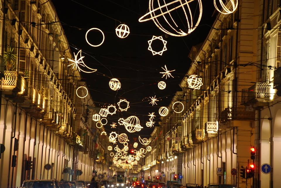 Christmas in Turin Luci d Artista lights hanging above the street Turismo Torino e Provincia