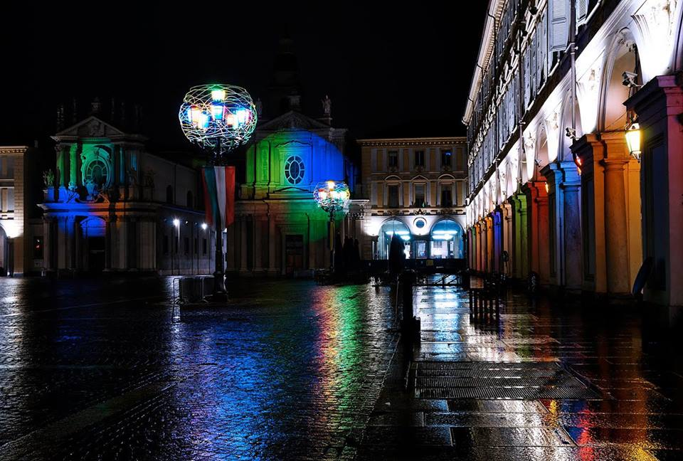 Luci D'Artista display of lights in Piazza San Carlo in Turin
