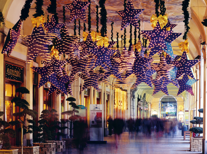 christmas star decorations in turin