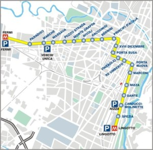 Turin Irish Festival Metro map to Lingotto