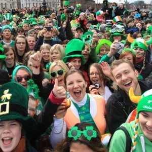 Crowd of people at St. Patrick's Day Festival in Dublin
