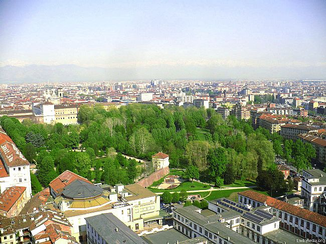 Aerial view of Turin's Royal Gardens from the Mole.