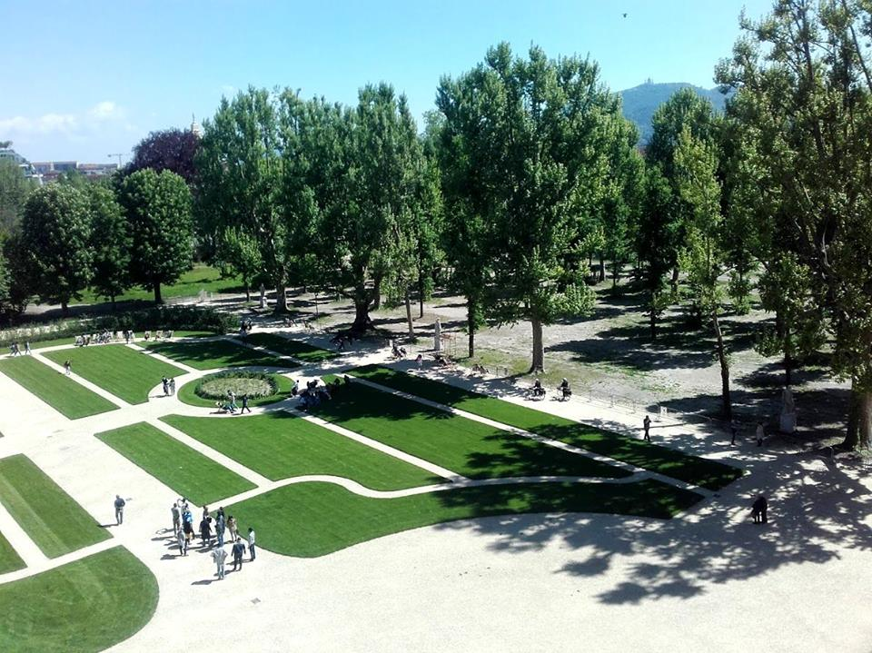 Turin's Royal Gardens - aerial view with people cycling around