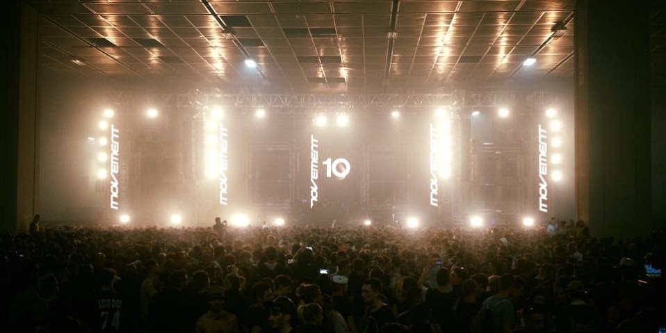 turin music festivals - Movement festival at night with stage and crowd dancing