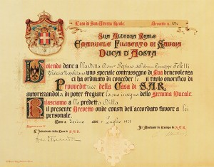 Pepino Emanuele Filiberto of Savoy plague of Coat of Arms