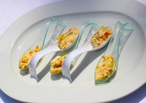 Russian salad served on spoons