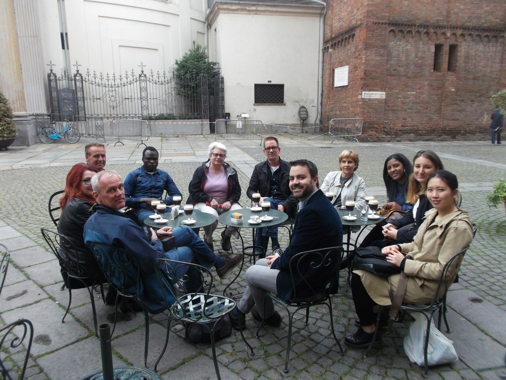 Italian language tudents enjoying a Bicerin chocolate and coffee drink in Turin