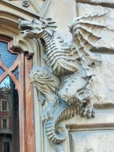 Example of Turin Liberty architecture - photo of dragons on building