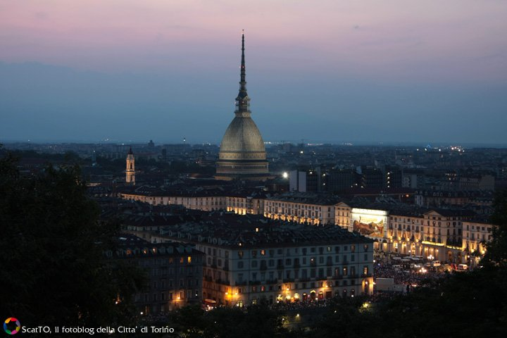 the Mole Antonelliana Turin with city view at night