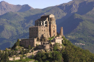 Exterior photo of the Sacra di San Michele in Piedmont Italy