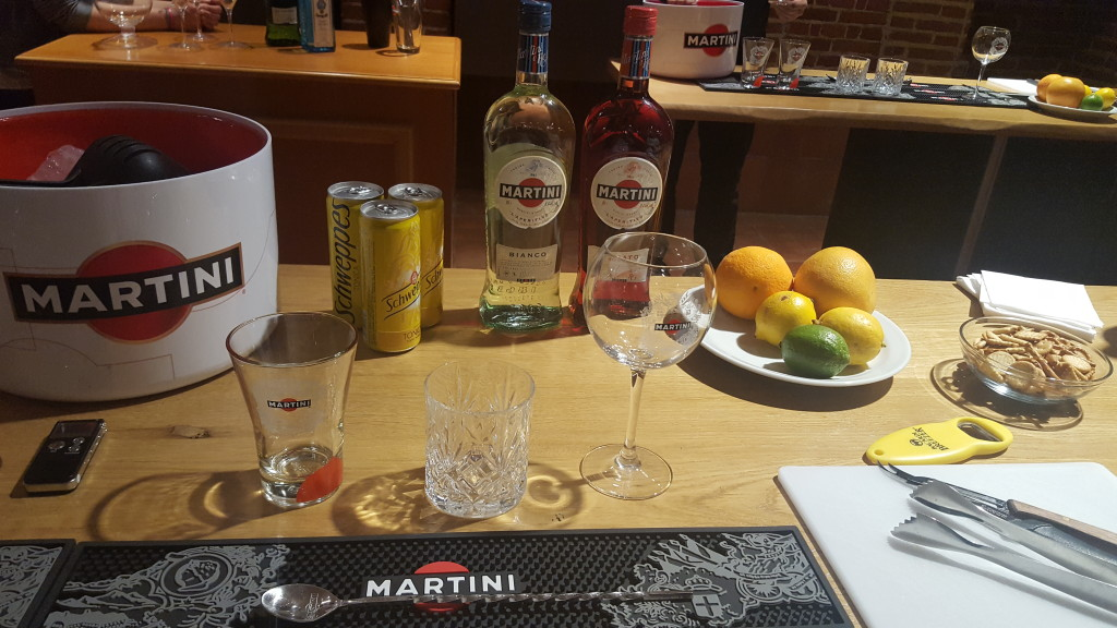 Casa Martini mixology class kit laid out on table to make Martini cocktails