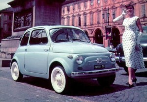 Fiat-500-Vintage with lady standing in front of car