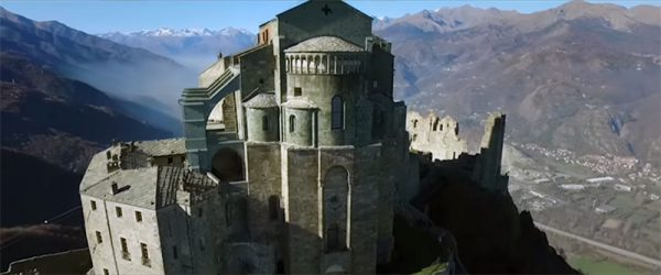 An aerial photo of the Sacra San Michele where some scenes of the broken key were filmed