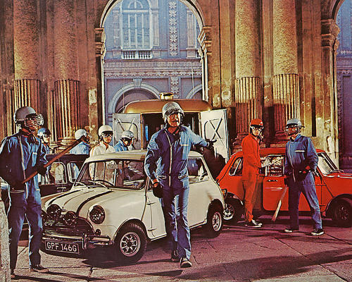Scene from The Italian Job with Minis filmed in Palazzo Carignano