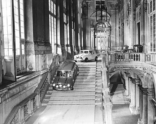 The Italian Job vintage photo of Minis going down stairs in Palazzo Madama