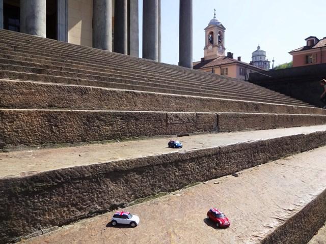 Turin Italian Job Chiesa di Gran Madre di Dio with Minis on the steps