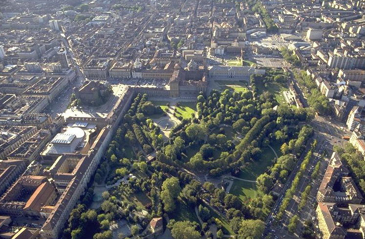 Fitness in Turin includes strolling in Turin's Royal Gardens featured here an aerial shot of the gardens