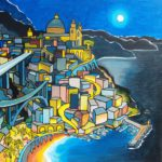 Il Bello della Riviera - the beauty of the Riviera at night with seascape and water in the moonlight by Piedmontese artist Gianni Gaschino