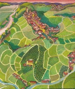 aerial view of Barbaresco and the vineyards by Piedmontese artist Gianni Gaschino