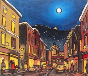 Night scene of Turin by Piedmontese artist Gianni Gashino