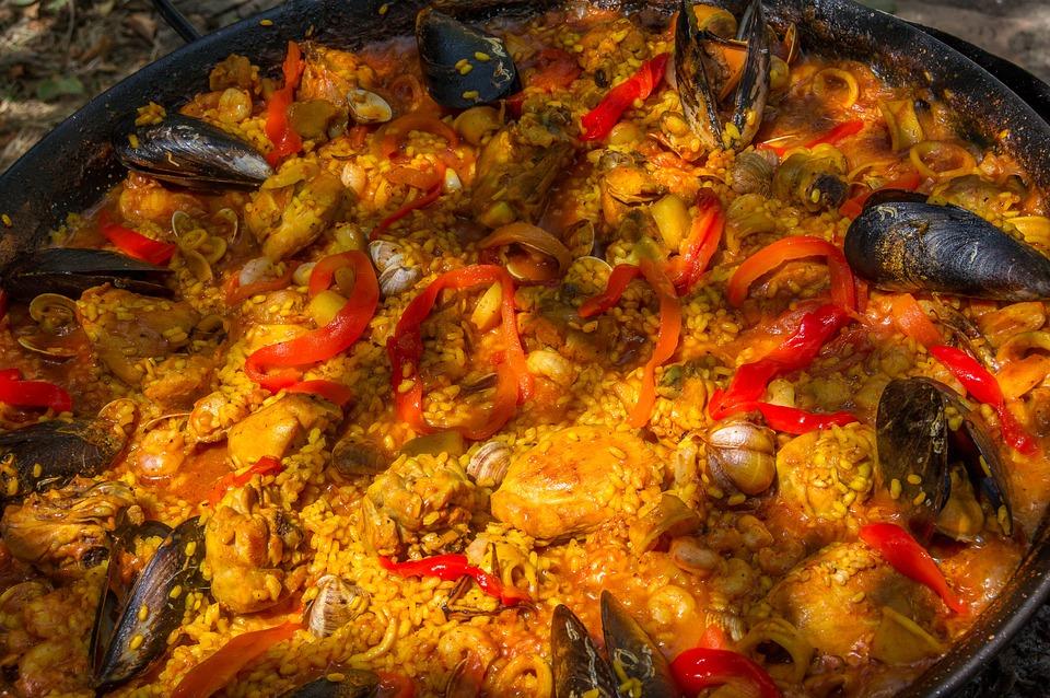 Saffron used in a pot full of paella